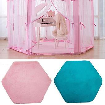 Tenda Hexagon Princess Castle Playhouse Pad Non-slip Baby Play Mat Plush Rug