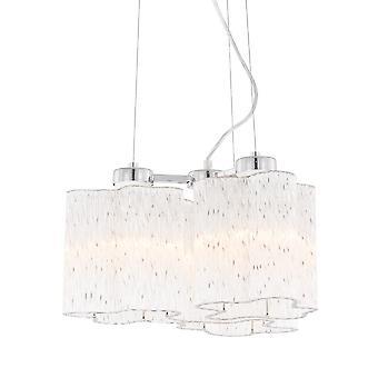Klasyczny wiszący wisiorek Chrom 3 Światło ze szklanym odcieniem, E27