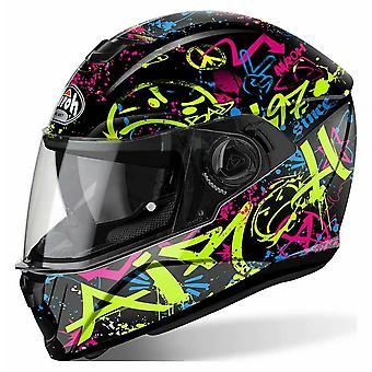 Airoh Storm Full Face Motorradhelm schwarz grün rosa gelb ACU genehmigt