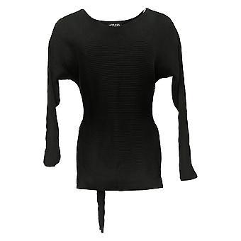 Attitudes par Renee Women's Sweater Round Neck W/ Tie Black A341770