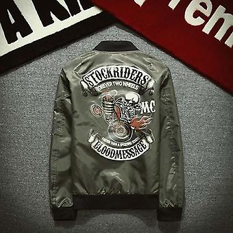 Vestes de tranchée de bombardier de luxe de moto, crâne de base-ball de grande taille d'hommes
