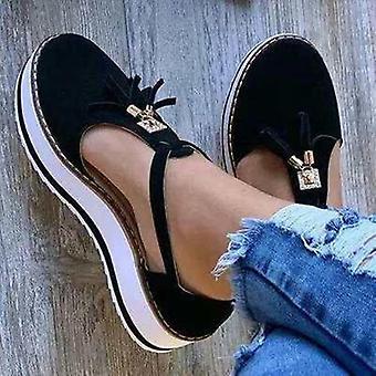 Summer Sandals, Fashion Buckle Strap, Solid Fringe Cover Heel Flat Platform
