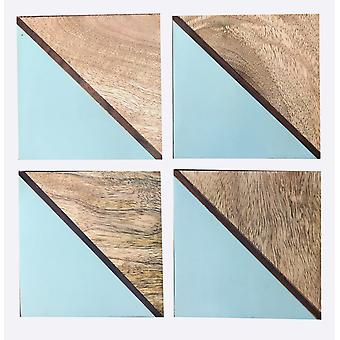 Set Of 4 Square Two Toned Wooden Coasters - Blue