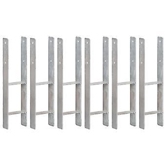 Pfostenträger 6 Stk. Silbern 14×6×60 cm Verzinkter Stahl