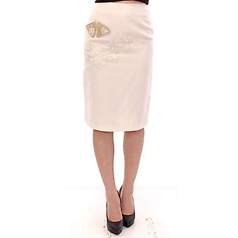 White cotton floral embroidery skirt
