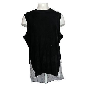Kathleen Kirkwood Women's Plus Top Ribbed Knit Cami Black A311346