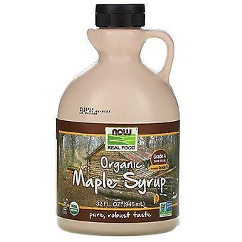 Maintenant aliments, aliments réels, sirop d'érable biologique, grade A, couleur foncée, 32 fl oz (946 ml)