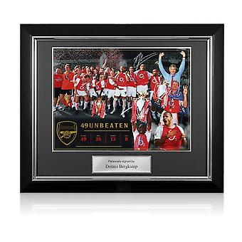 Dennis Bergkamp Signed Arsenal Photo: Invincibles. Deluxe Frame