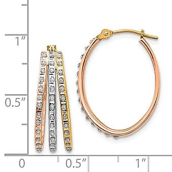 14k Tri Color Gold Diamond Fascination Three Oval Hoop Earrings Jewelry Gifts for Women - .010 dwt