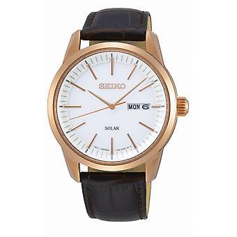 Watch Seiko SNE530P1 - CLASSIC MAN Dateur Leather Bracelet Brown Bo tier Steel Dor pink Men