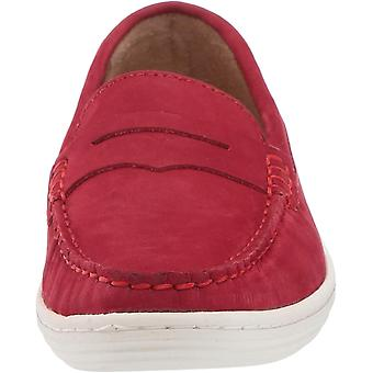 Driver Club USA Unisex Genuine Leather Casual Comfort Slip On Moccasin Penny Loafer Driving Style, red nubuck 11.5 M US Little Kid
