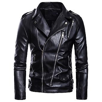 YAGNFAN Men's Faux Leather Jacket Motorcycle Lapel Bomber Punk Irregular Zipper Jacket