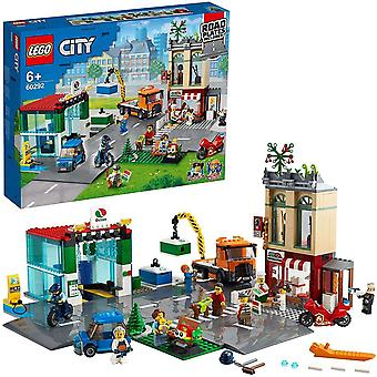 LEGO 60292 City Town Centre Building Set with Toy Motorbike, Bike, Truck, Road Plates