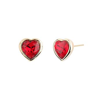 Traveller Pierced Earrings Heart Gold plated with Crystals from Swarovski - 157261