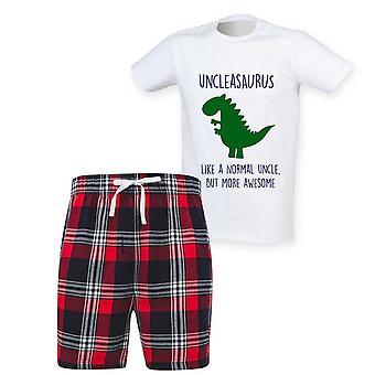 Herre onkel Dinosaur Tartan Kort Pyjamas Sæt