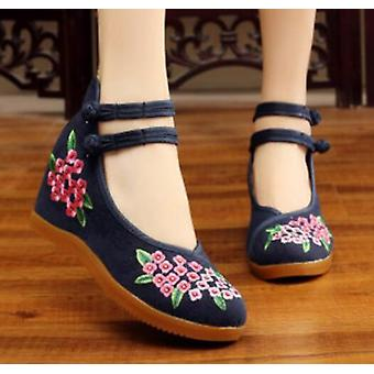 Women's Vintage Chinese Ethnic Embroidery High Heel Elevator Cheongsam Dancing Shoes Bouquet