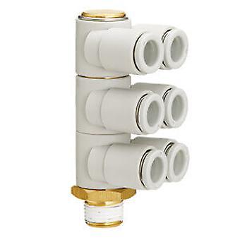 Adapter met schroefdraad-naar-buis voor SMC pneumatische elleboog, R 3/8 Male, Push In 6 Mm