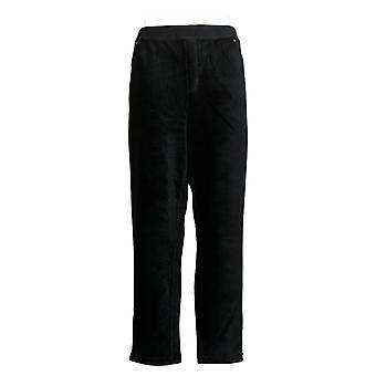 Susan Graver Women's Corduroy Straight Leg Pull-On Pants Black A297162