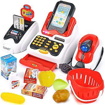 Wokex Elektronische Kasse Spielzeug Registrierkasse mit Scanner Supermarktkasse Spielkasse