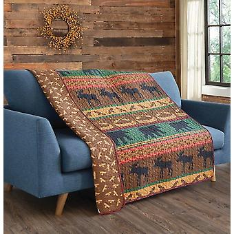 Spura Home Pictorial Lodge Preserve Primative Transitional Quilted Throw