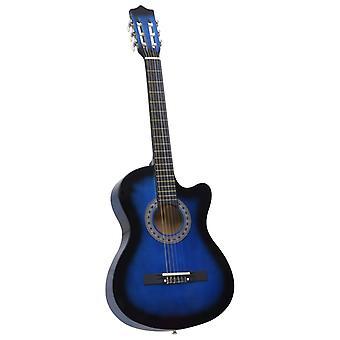 """vidaXL Läntinen acoustic cutaway kitara 6 stringiä sininen varjostettu 38"""""""