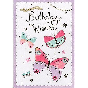 ICG Ltd Open Birthday Card Palladium Range - Butterflies