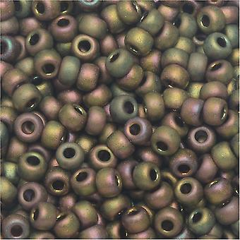 ميوكي جولة حبات البذور، 8/0، 22 غرام أنبوب، #92035 ماتي ميتال كاكي إيريس