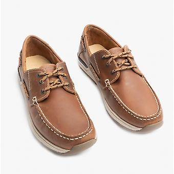 Chatham Hastings Mens Leather Boat Shoes Tan