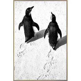 JUNIQE Print - Journey Through Snow - Penguins Poster in Black & White