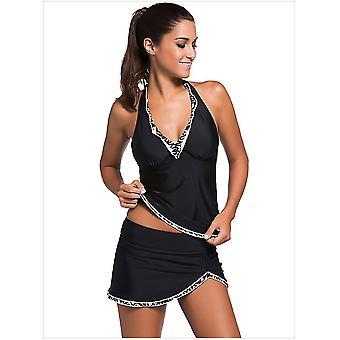 L czarne stroje kąpielowe dla kobiet dwuczęściowe kostiumy kąpielowe z bikini bottom x4973