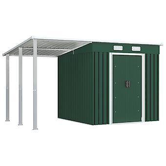 vidaXL gereedschapshuis met luifel Groen 346×193×181 cm Staal