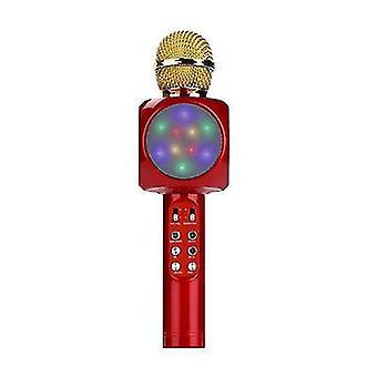 Red professional bluetooth wireless microphone handheld speaker karaoke music player az17795