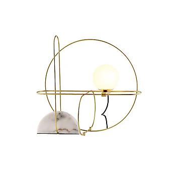 48CM Marble Table Lamp 220V LED Wrought Iron Wire Study Room Led Light Luxury Marble