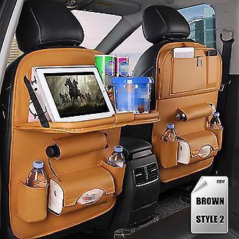 Car Seat Organizer PU Leather Storage Bag Foldable Table Car Seat Storage Bag Car Accessories(Brown)