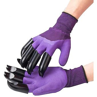 Digging Gloves Gardening Dipping Labor Protection Paws Garden Planting Vegetable Flower(Purple)