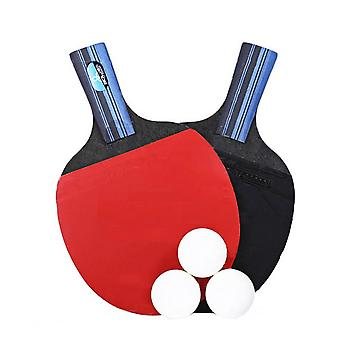 Table Tennis Racket Double Side Reverse Rubber Faced Beginner Training Ping-pong Board Table Tennis Racket Set (long Handle, Random Ping-pong Color)