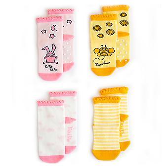 Milk&Moo Buzzy Bee and Chancin Baby Socks, Newborn Socks, Soft, Cotton, Cute, Warm, Breathable, Baby Girl Socks, Non Slip, Grip Socks, 0-12 Months, 4 Pairs