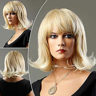 Ladies Short Blonde Curly Full Wig Natural Synthetic Hair Fancy Cosplay Party