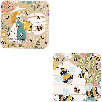 Ulster Weavers Bee Keeper Cork Mat Wipe-Clean 4 Pack Drink Coasters