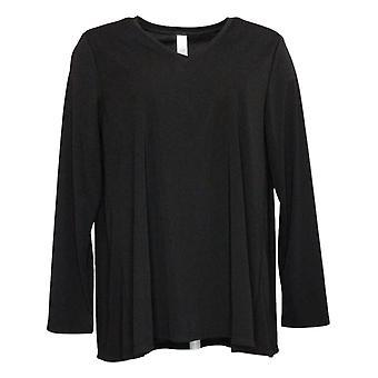 MarlaWynne Women's Top Luxe Jersey V-Neck Butterfly Tee Black 712028