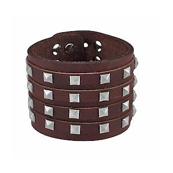 Brown Leather 4 Row Pyramid Studded Wristband Bracelet