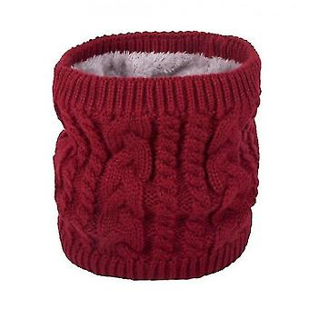 Neck gaiters warm scarf in winter, all-match knitted scarf for couples, pure color plus velvet scarf(red) #700
