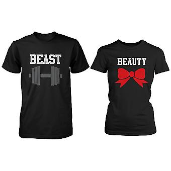 Svart skönhet & odjuret par T-shirt (två skjortor) matchande par T-Shirts