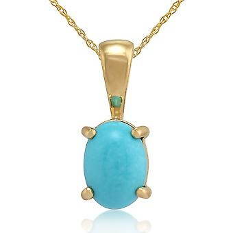 Classic Oval Turquoise Pendant Necklace in 9ct Yellow Gold 10749