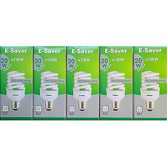 Flood spot lights pack of 5  cfl full spiral  20w = 100watt  warm white 2700k  compact fluorescent lamp  screw in