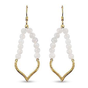 TJC MoonStone Drop Dangle Ohrringe in vergoldetem Silber 11ct
