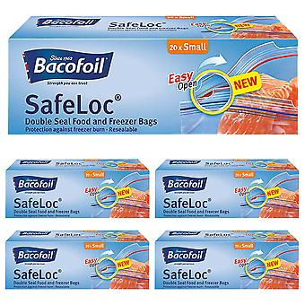 5 x Bacofoil Double Seal Resealable Bag 20 Small Lunch Sandwich Food Freezer