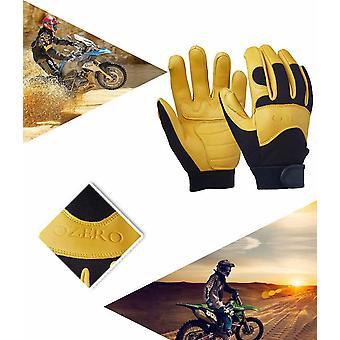 Teplé rukavice Zimní rukavice Polo kožené rukavice Jezdecké rukavice Motocykl Fitness Rukavice Žluté