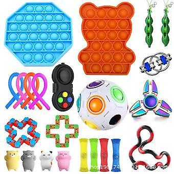 23 st ångest relief leksaker push pop bubbla sensorisk fidget spinner
