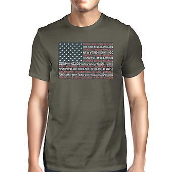 50 دولة العلم الأمريكي التي شيرت رجالي القطن الرمادي الداكن الرسومات المحملة